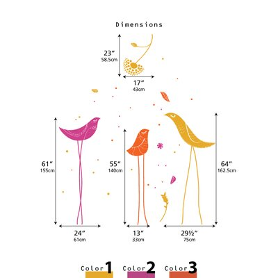 LittleLion Studio Color Block Carnival Birds Wall Decal