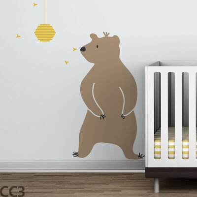 LittleLion Studio Baby Zoo Bear and Hive Wall Decal