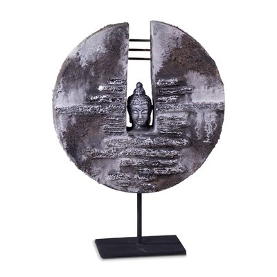 Phillips Collection Lava Stone Buddha Head Plaque Sculpture