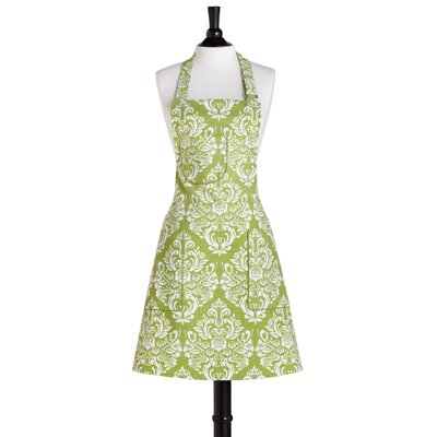 Green and Cream Damask Bib Chef Apron