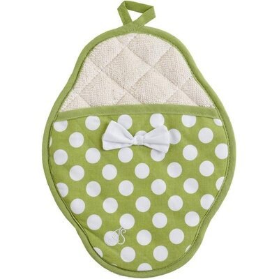 Jessie Steele Green and White Polka Dot Scalloped Pot Mitt