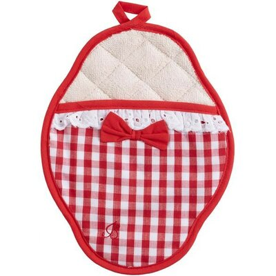 Jessie Steele Red and White Gingham Scalloped Pot Mitt with Trim