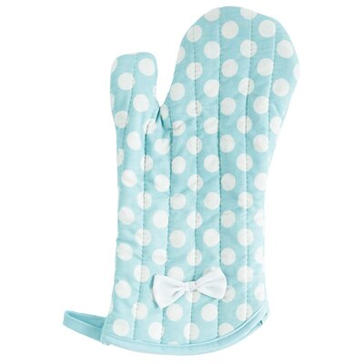 Lt Blue and White Polka Dot Oven Mitt with Bow