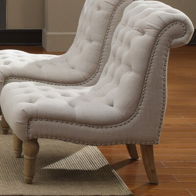 Emerald Home Furnishings Hutton Nailhead Fabric Slipper Chair