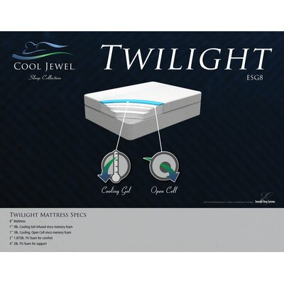 "Emerald Home Furnishings 8"" Cool Jewel Twilight Gel Memory Foam Mattress"
