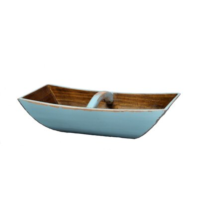 Antique Revival Wooden Boat Tray with Arched Handle