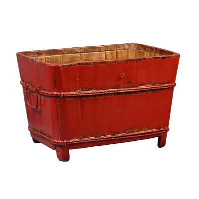 Antique Revival Asian Antique Vintage Square Sink in Distressed Red