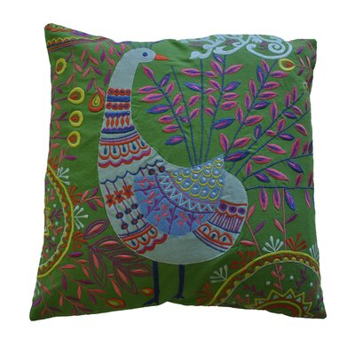 AV Home Boho Peacock Embroidered Cotton Pillow