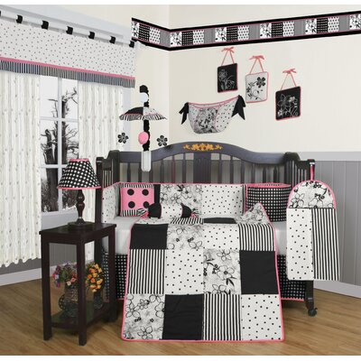 Geenny Boutique Flower and Dot 13 Piece Crib Bedding Set in Black / White