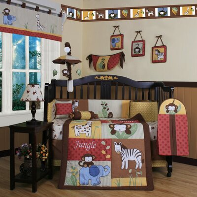 Boutique Amazon Jungle Animal 13 Piece Crib Bedding Set