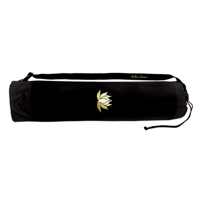 Wai Lana Black Lotus Tote Bag with Gold Lotus