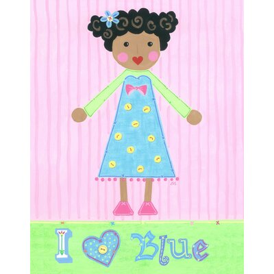 The Little Acorn Blue Girl - Bluebell Canvas Art