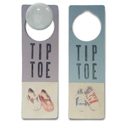 "Tree by Kerri Lee ""Tiptoe"" Wooden Doorknob Sign in Distressed Blue"
