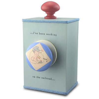 "Tree by Kerri Lee ""I Have Been Working On The Railroad"" Wind Up Music Box in Distressed Blue"