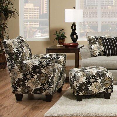 dCOR design Daisy Floral Arm Chair and Ottoman