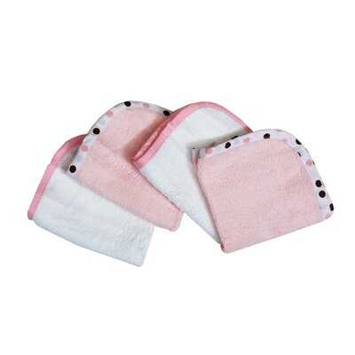 American Baby Company Organic Terry Wash Cloths in Pink (Set of 4)