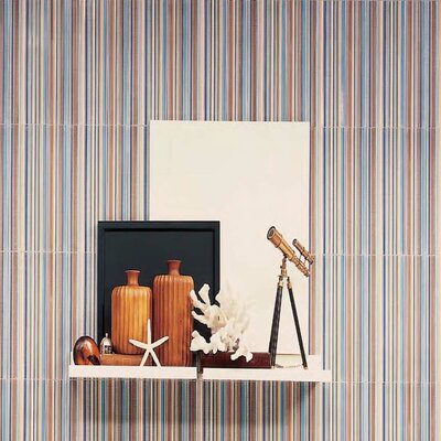 "Interceramic Aquarelle 12"" x 18"" Ceramic Wall Tile in Blue Insert Stripes"