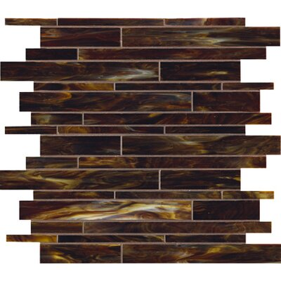 "Marazzi Catwalk 12"" x 12"" Random Glass Mosaic in Walnut Wedge"