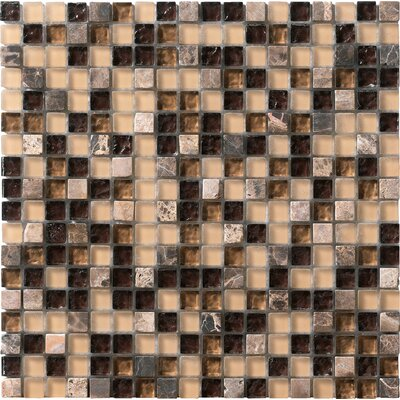"Marazzi Crystal Stone 12"" x 12"" Glass/Stone Mosaic in Coffee"