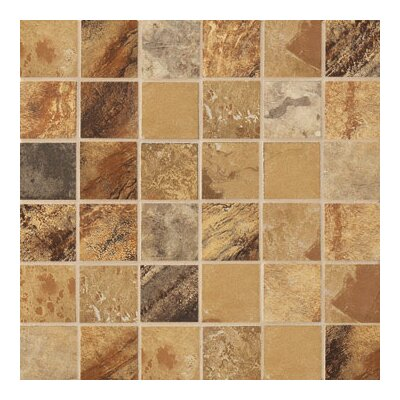 "Marazzi Jade 2"" x 2"" Decorative Square Mosaic in Ochre"