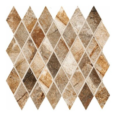 "Marazzi Vesale Stone 3-1/2"" x 2"" Decorative Diamond Mosaic in Rust"