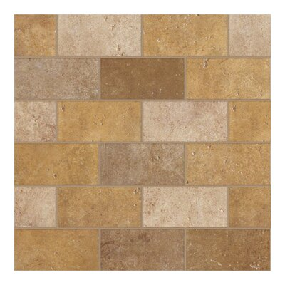 "Marazzi Walnut Canyon 4"" x 2"" Decorative Brick Mosaic in Golden"