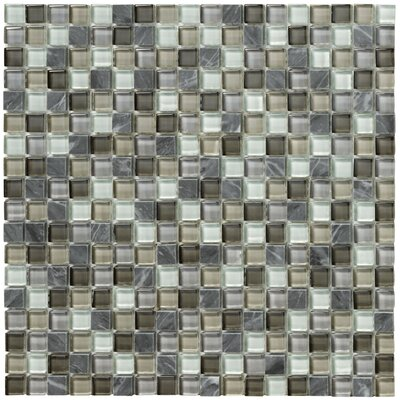Crystal Stone II Glass Square Mosaic in Pewter