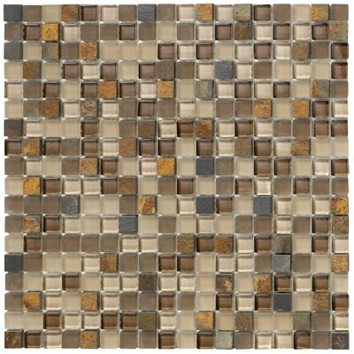 Crystal Stone II Glass Square Mosaic in Terracotta