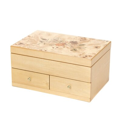 Auberon Jewelry Box with Floral Inlay Design in Oak