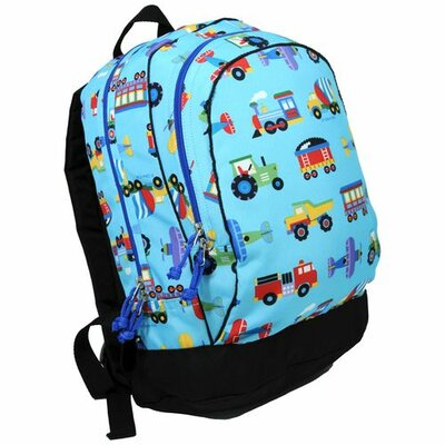 Wildkin Olive Kids Trains, Planes & Trucks Backpack in Blue