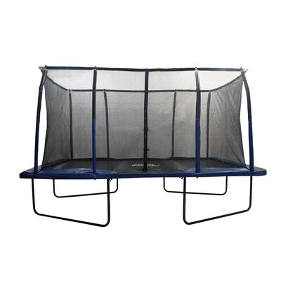 Spacious 14' Rectangular Trampoline with Fiber Flex Enclosure