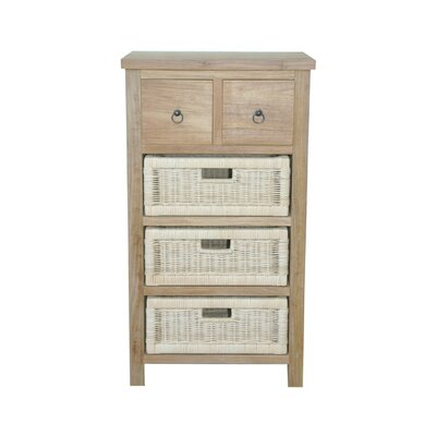 Anderson Teak Safari Occasional Table with Drawer and Rattan Basket