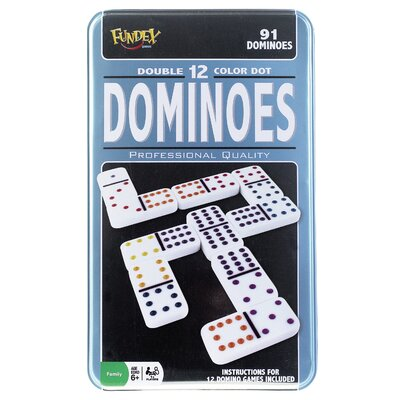 POOF-Slinky, Inc Double 12 Dominoes Game in Tin Case