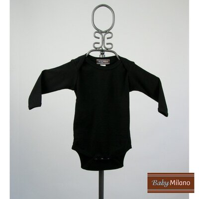 Long Sleeve Infant Bodysuit in Black