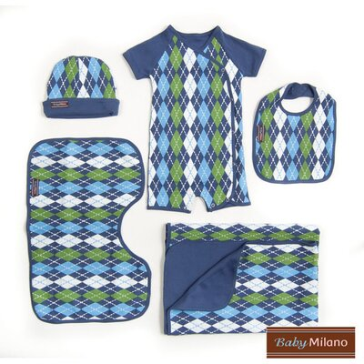 Baby Milano 5 Piece Baby Clothes Gift Set in Blue Argyle