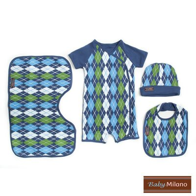 Preppy Baby Clothes Gift Set in Blue Argyle