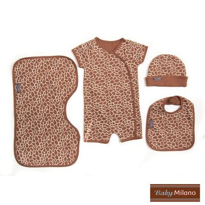 4 Piece Baby Clothing Gift Set in Giraffe Print