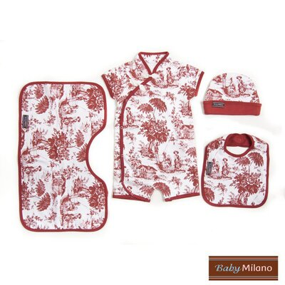 Baby Milano 4 Piece Baby Gift Set in Burgundy Toile