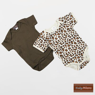 Baby Milano Infant Bodysuits Short Sleeve Gift Set in Brown and Leopard Print