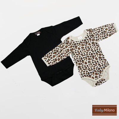 Baby Milano Infant Bodysuits Long Sleeve Gift Set in Black and Leopard Print