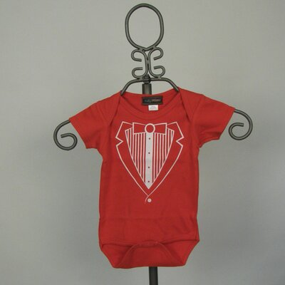Baby Milano Red Tuxedo Vest Infant Bodysuit - Short Sleeve