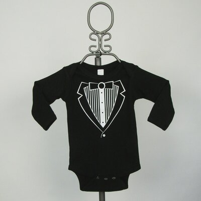 Long Sleeve Infant Bodysuit in Black Tuxedo