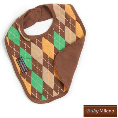 Baby Milano Bib in Brown Argyle
