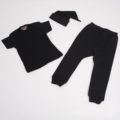3 Piece Baby Shirt, Pants and Hat Outfit in Black