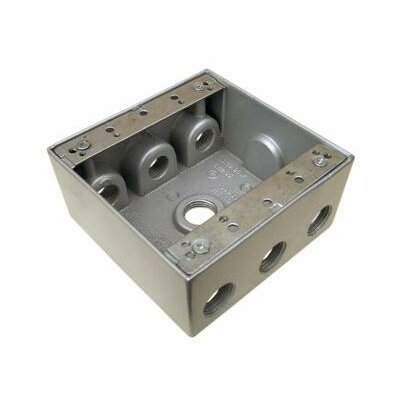 "Morris Products 2"" Weatherproof Boxes in Gray with 7 Outlet Holes"