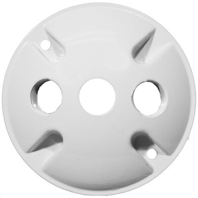"Morris Products 4"" Round Weatherproof Covers in White with 0.5"" Three Hole"