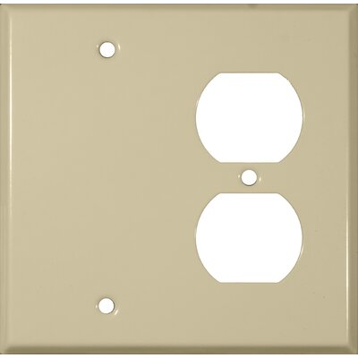 Morris Products 2 Gang 1 Duplex 1 Blank Stainless Steel Metal Wall Plates in Ivory