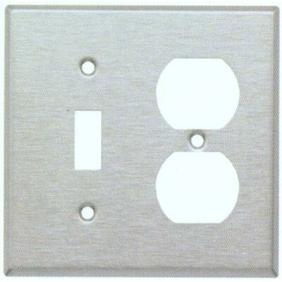 Morris Products Stainless Steel Metal Wall Plates with 1 Toggle 1 Duplex