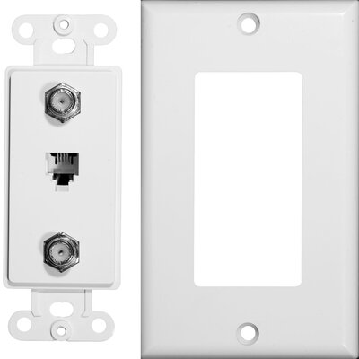 Morris Products 2 Piece Decorator Double Coax Single Phone Jack in White