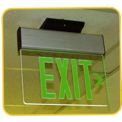 Morris Products Surface Mount Edge Lit Double Sided Face Plate LED Exit Sign with Green on Clear Panel